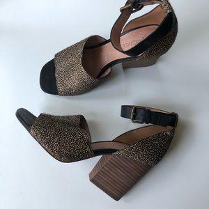 Madewell Chunky Animal Print Sandals/Heels 6.5